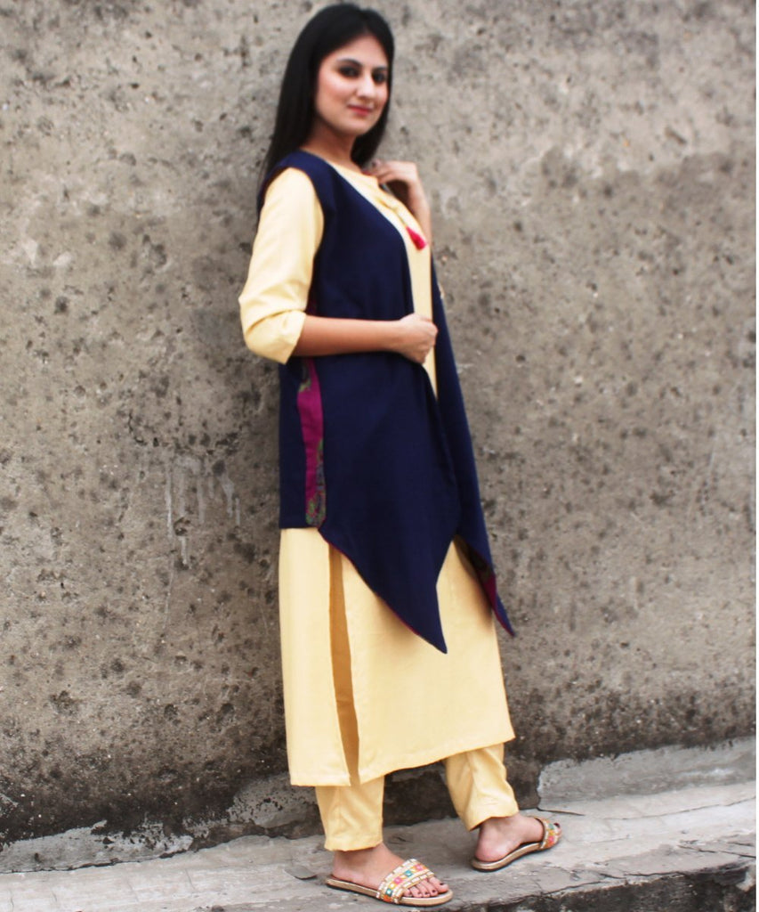anokherang Combos Golden Grace Straight Kurti with Straight Pants and Blue Reversible Jacket