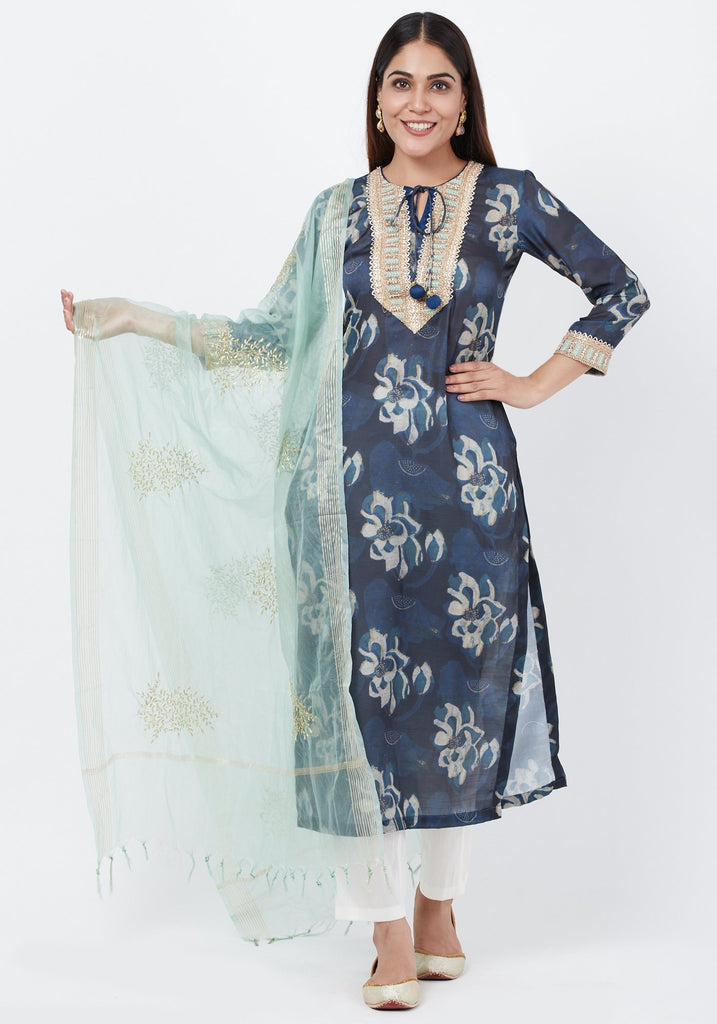 anokherang Combos Gray Floral Embroidered Silk Kurti with Off-White Palazzo and Festive Dupatta