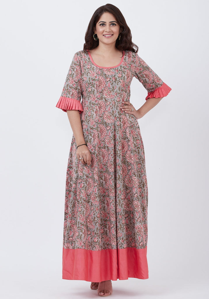 anokherang Combos Gray Floral Printed Floor Length with Pleated Sleeves