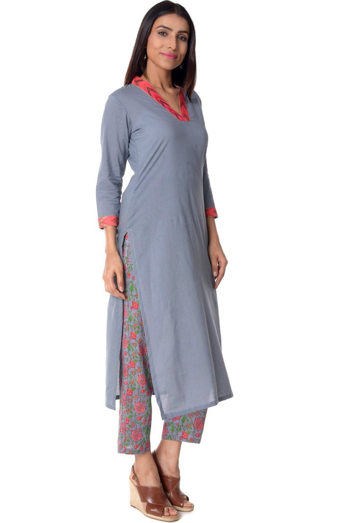 anokherang Combos Gray Neck Embroidered Straight Kurti with Printed Straight Pants