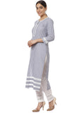 Gray White Stripes Kurti with Straight Pants