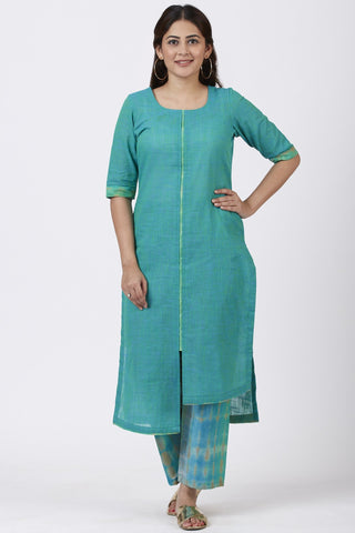 Green Basant Asymmetrical Kurti with Straight Palazzo