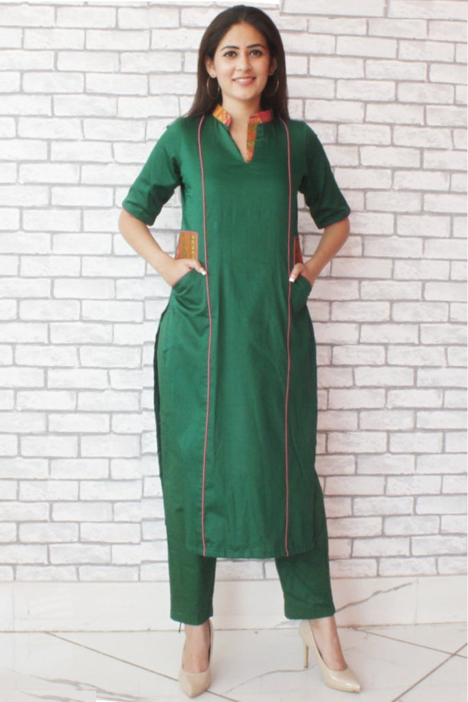 anokherang Combos Green Collared Kurti with MultiColored Pockets and straight Pants