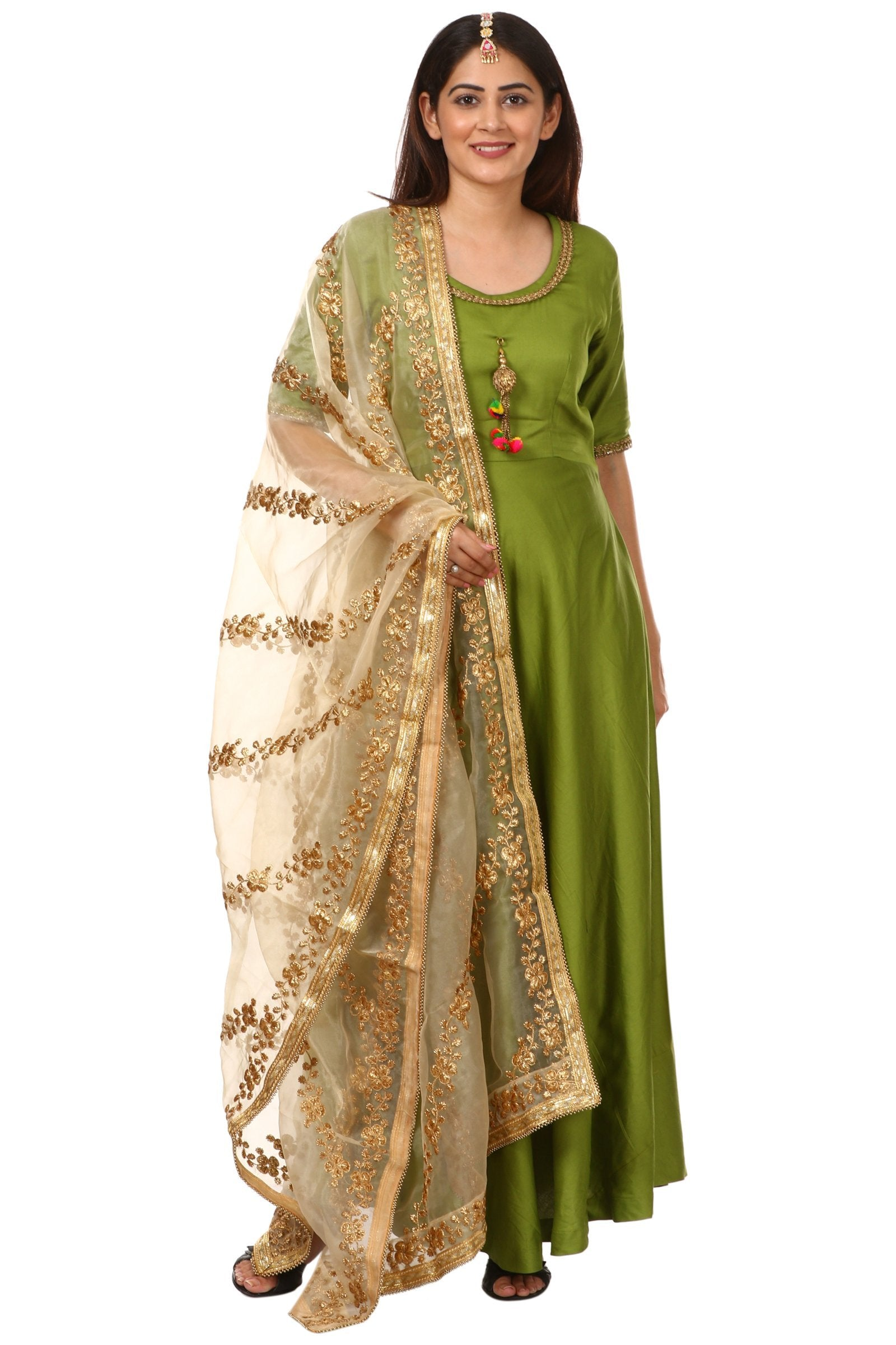 d95b7bfd0 Home   Products   Green Floor Length Kurti with Floral Gold Embroidered  Dupatta
