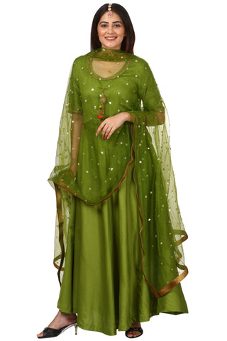 Green Floor Length Kurti with Green Net Sequeneced Dupatta