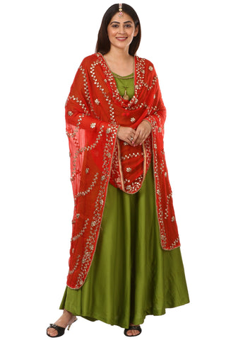 Green Floor Length Kurti with Red Gotta Patti Dupatta
