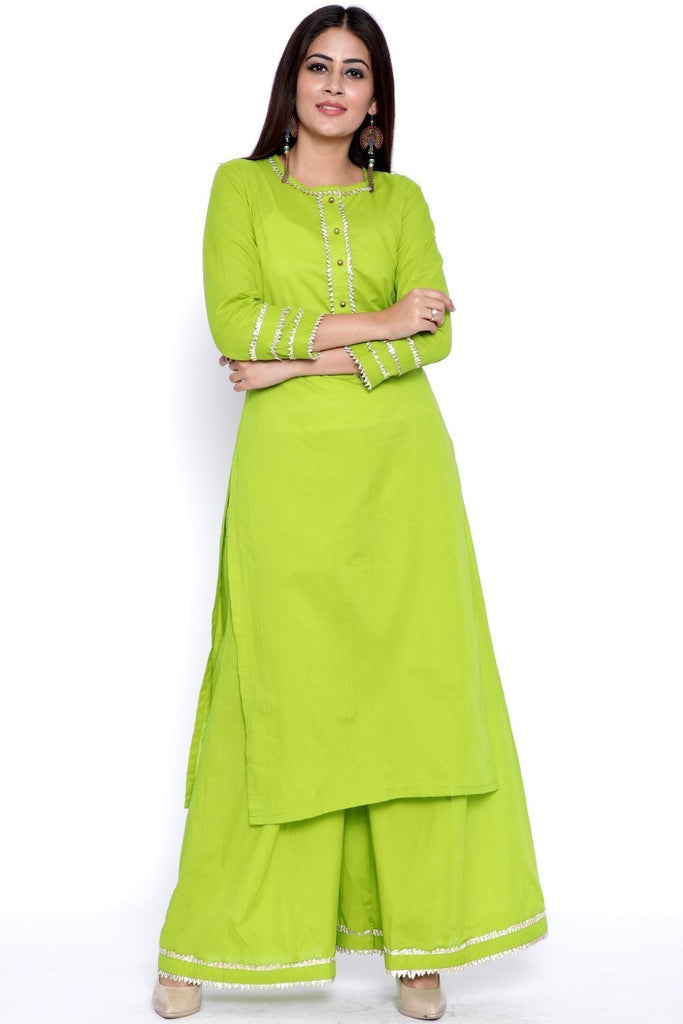 anokherang Combos Green Gota Work Kurti with Flared Palazzo