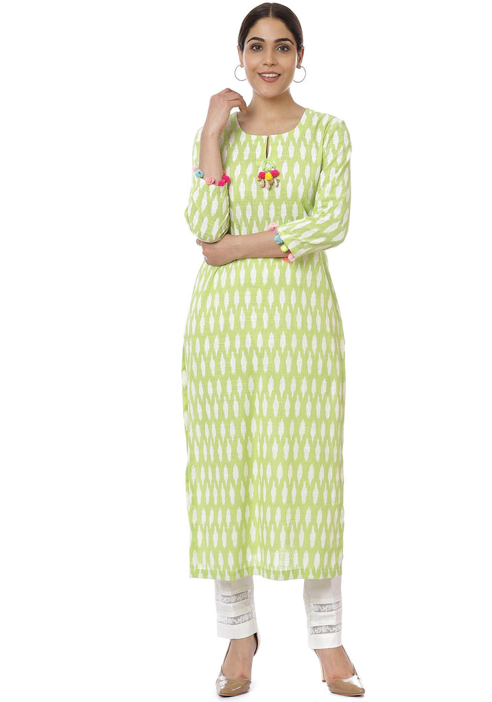 anokherang Combos Green Ikkat Kurti with Off-White Crochet Pants