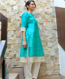 anokherang Combos Green Magic Double Layered Kurti with Straight Pants