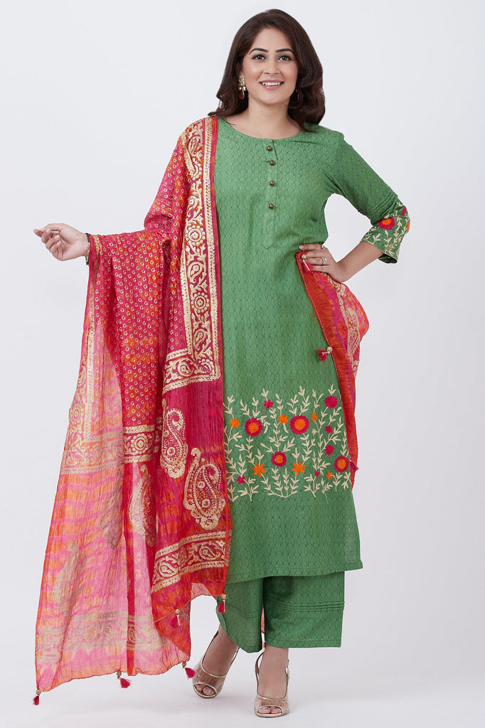 anokherang Combos Green Self Silk Embroiderd Kurti with Palazzo and Tie-dye Dupatta