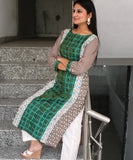 anokherang Combos Green Wave Straight Kurti with Pants