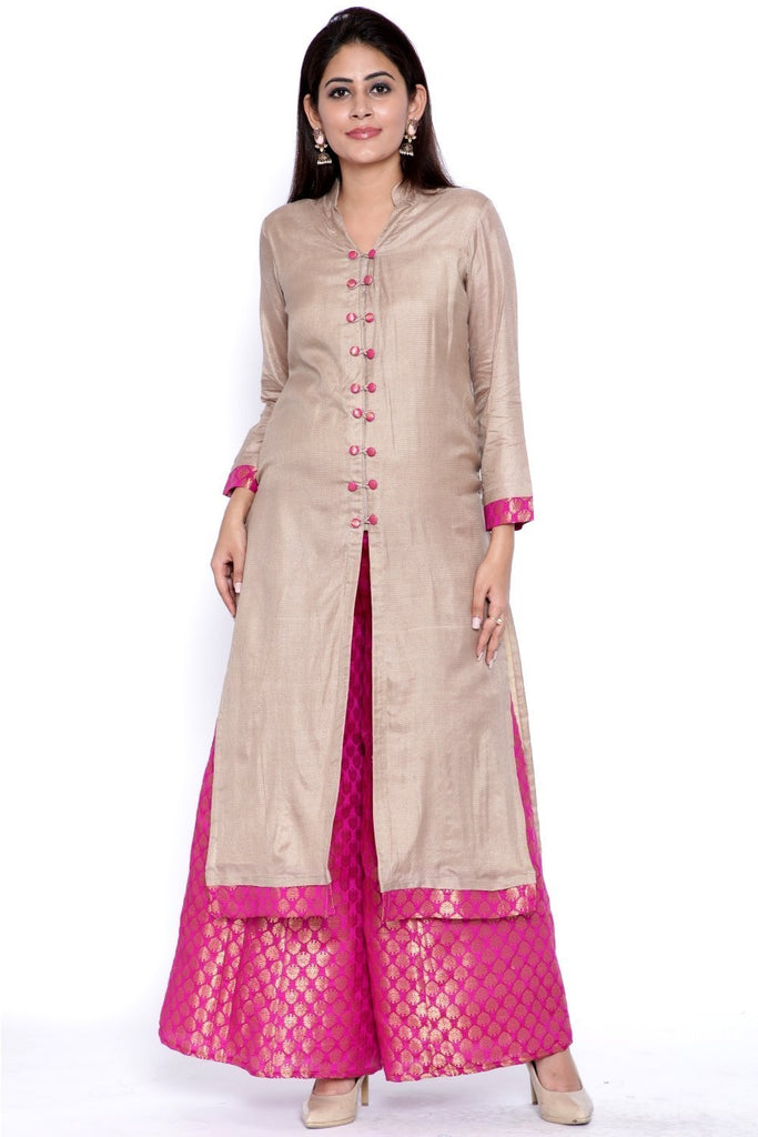 anokherang Combos Grey Buttoned Straight Kurti with Brocade Flared Palazzo