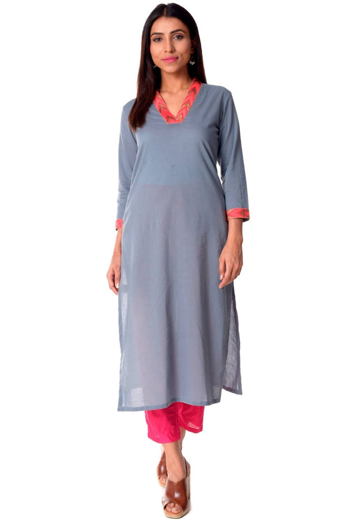 d73d7668336 anokherang Combos Grey Neck Embroidered Straight Kurti with Straight Pants