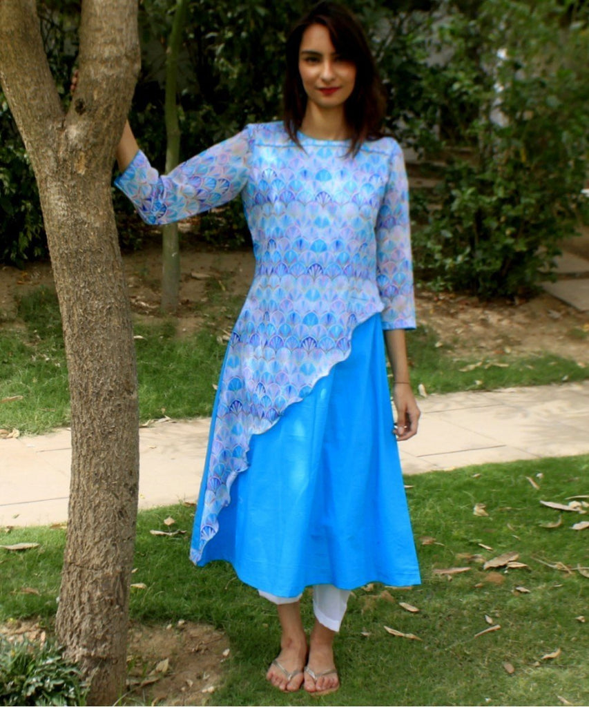 anokherang Combos Groovy Blue asymmetrical Kurti with Straight Pants