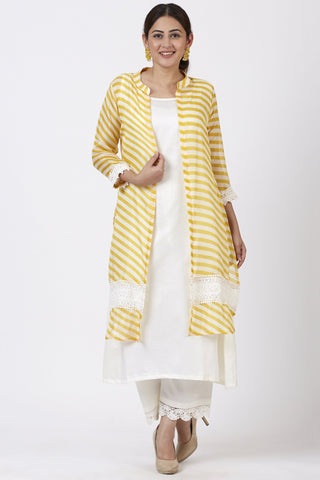 Ivory A-Line Kurti and Straight Pants with Yellow Crochet Jacket