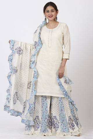 Ivory Kurti with Printed Kali Ruffle Palazzo and Ruffle Dupatta