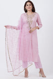 anokherang Combos Lavender Badla Embroided Kurti with Straight Pants and Net Sequins Dupatta