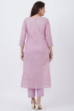 anokherang Combos Lavender Badla Embroidered Kurti with Straight Pants and Net Sequins Dupatta