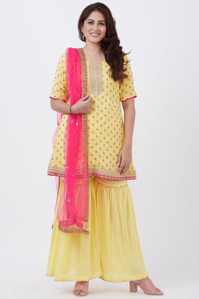 anokherang Combos Lemon Embroidered Short Kurti wirh gharara and pink Dupatta