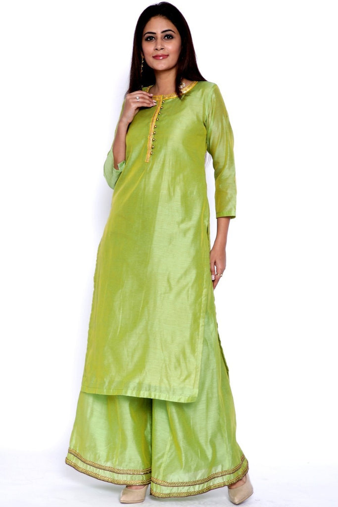 anokherang Combos Lime Green Chanderi Kurti with Flared Palazzo