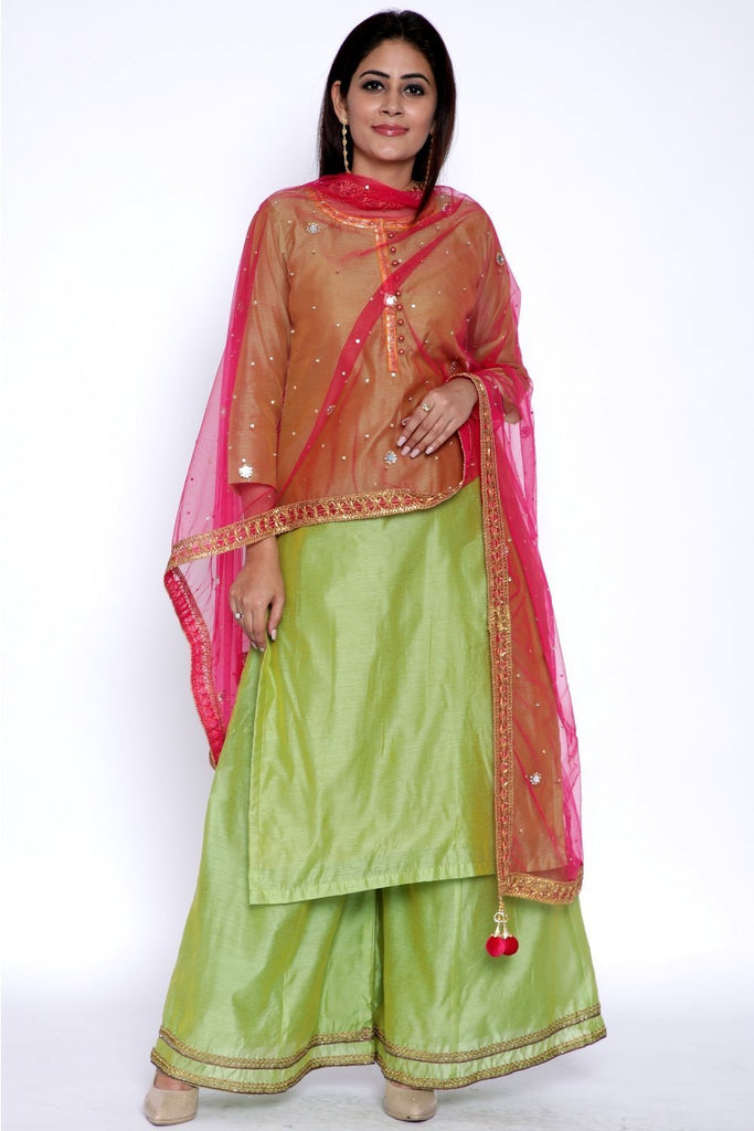 anokherang Combos Lime Green Chanderi Kurti with Flared Palazzo and Pink Net Dupatta with Mirrors
