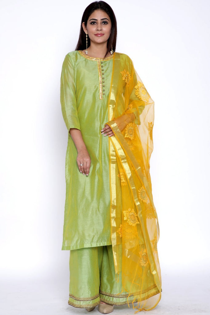 anokherang Combos Lime Green Chanderi Kurti with Flared Palazzo and Yellow Embroidered Dupatta
