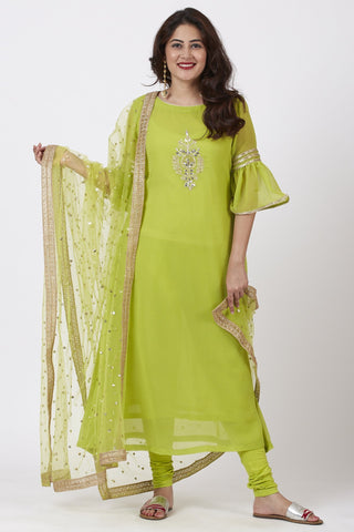 Lime Green Georgette Gotta Embroidered Kurti and Churidar with Net Pearl Sequin Dupatta