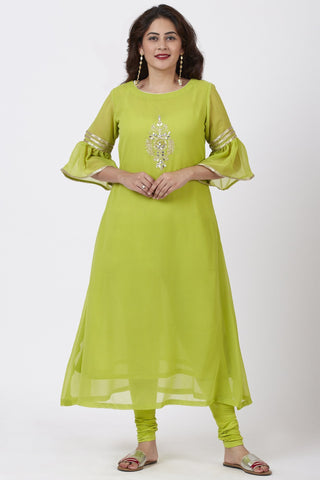 Lime Green Georgette Gotta Embroidered Kurti with Churidar