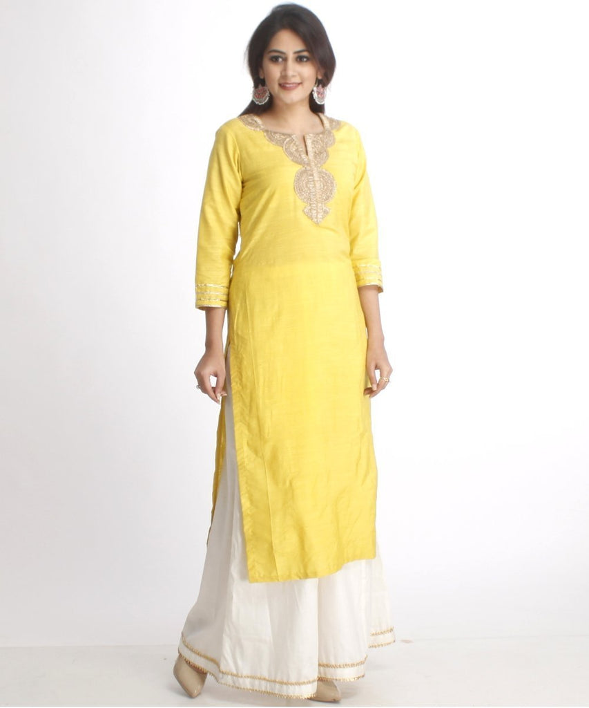 anokherang Combos Lime Green Straight Kurti with Off-White Palazzos
