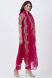 anokherang Combos Magenta Georgette Brocade Kurti with Pants and Embroidered Net Dupatta