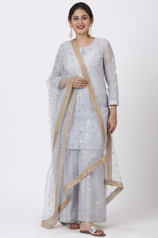 Magical Gray Foil Printed Kurti with Flared Palazzo and Net Sequins Dupatta