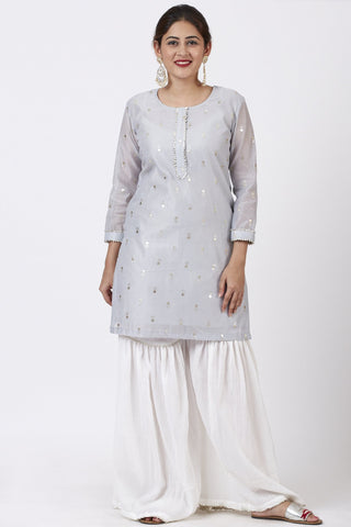 Magical Gray Foil Printed Kurti with Gathered Palazzo