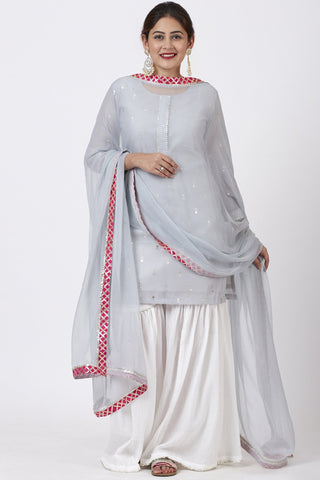 Magical Gray Foil Printed Kurti with Gathered Palazzo and Mokaish Chiffon Gotta Dupatta