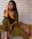 anokherang Combos Magical Mehendi Angarakha Kurti with Straight Pants