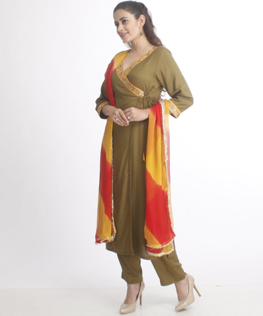 anokherang Combos Magical Mehendi Angarakha Kurti with Straight Pants and Leheriya Dupatta
