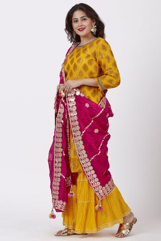 Mangal Mustard Banarsi Kurti With Crushed Gharara and Pink Silk Gotta Embroidered Dupatta