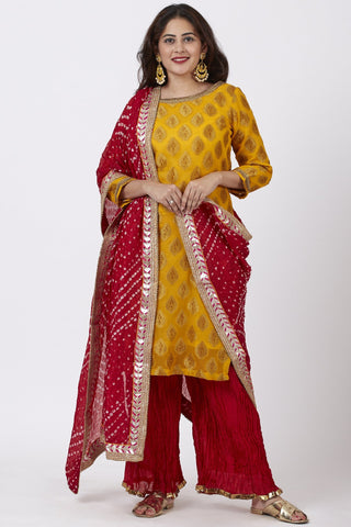 Mangal Mustard Banarsi Kurti With Crushed Silk Palazzo and Bandhani Dupatta