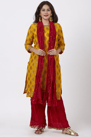 Mangal Mustard Banarsi Kurti With Red Crushed Palazzo and Silk Crushed Dupatta