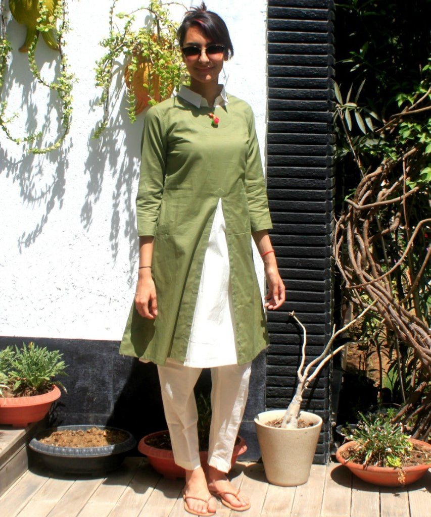 anokherang Combos Mehendi and Offwhite Layered Collared Kurti with Straight Pants