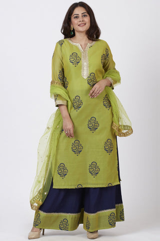 Mehendi Green Block Printed Straight Kurti with Flared Palazzo and Net Mirror worked Dupatta