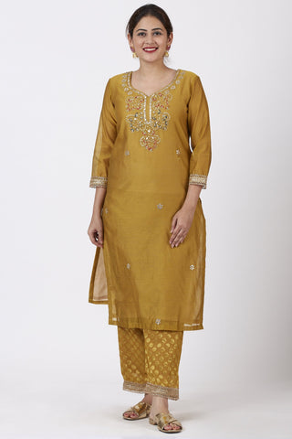 Mellow Mustard Gotta-Patti Embroidered Kurti with Straight Banarsi Palazzo