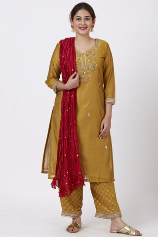 Mellow Mustard Gotta-Patti Embroidered Kurti with Straight Banarsi Palazzo and Crimson Red Crushed Dupatta