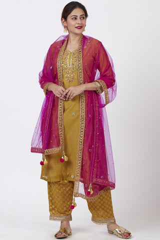 Mellow Mustard Gotta Patti Embroidered Kurti with Straight Banarsi Palazzo and Pink Mirror Stone Dupatta