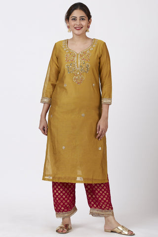 Mellow Mustard Gotta Patti Embroidered Kurti with Straight Red Banarsi Palazzo