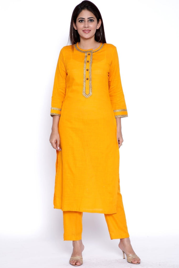 anokherang Combos Mustard Gota Kurti with Straight Pants