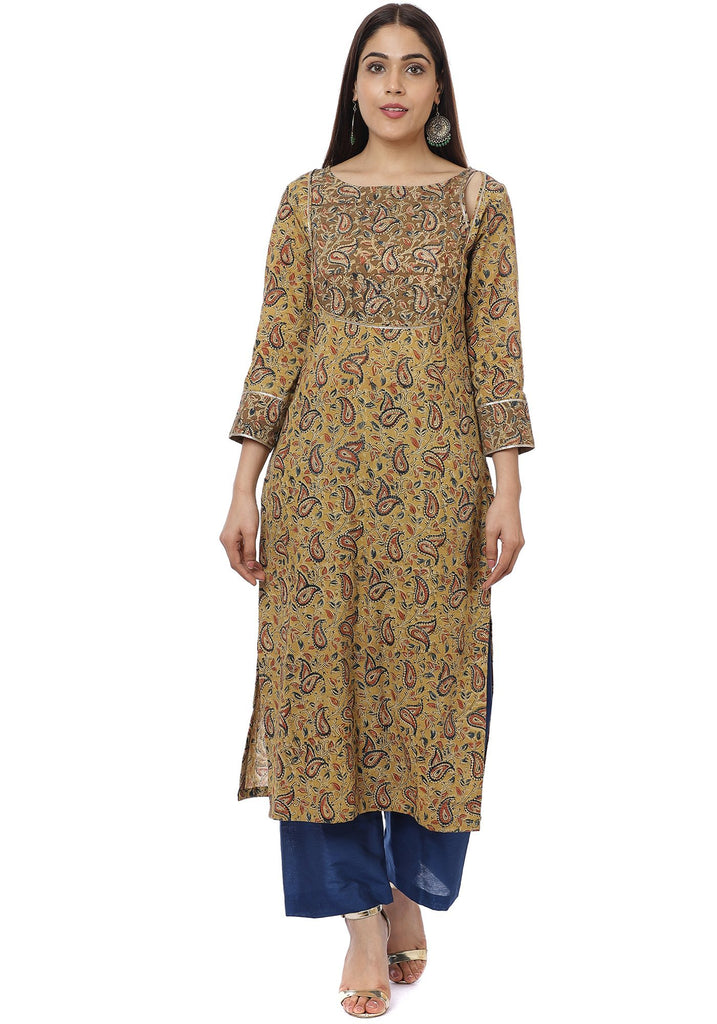anokherang Combos Mustard Kalamkari Shades Yoke Kurti with Straight Pants