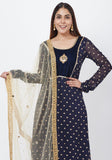 Navy Blue Sequenced Anarkali with Mirror Net Dupatta