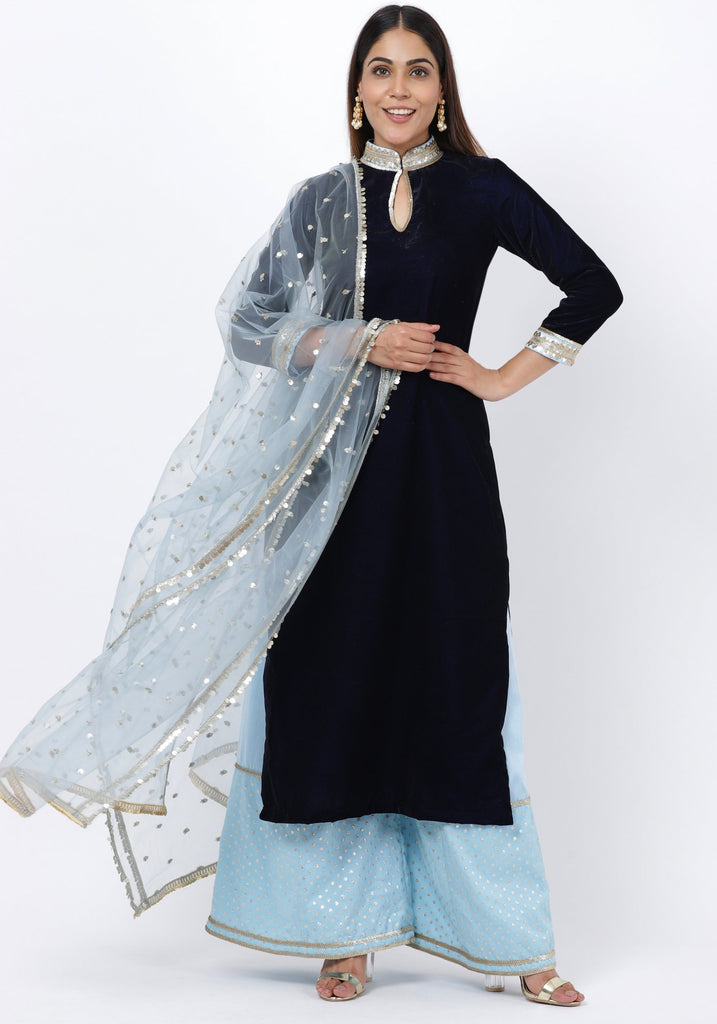 anokherang Combos Navy Blue Velvet Collared Kurti with Blush Blue Festive Palazzo and Sequenced Dupatta