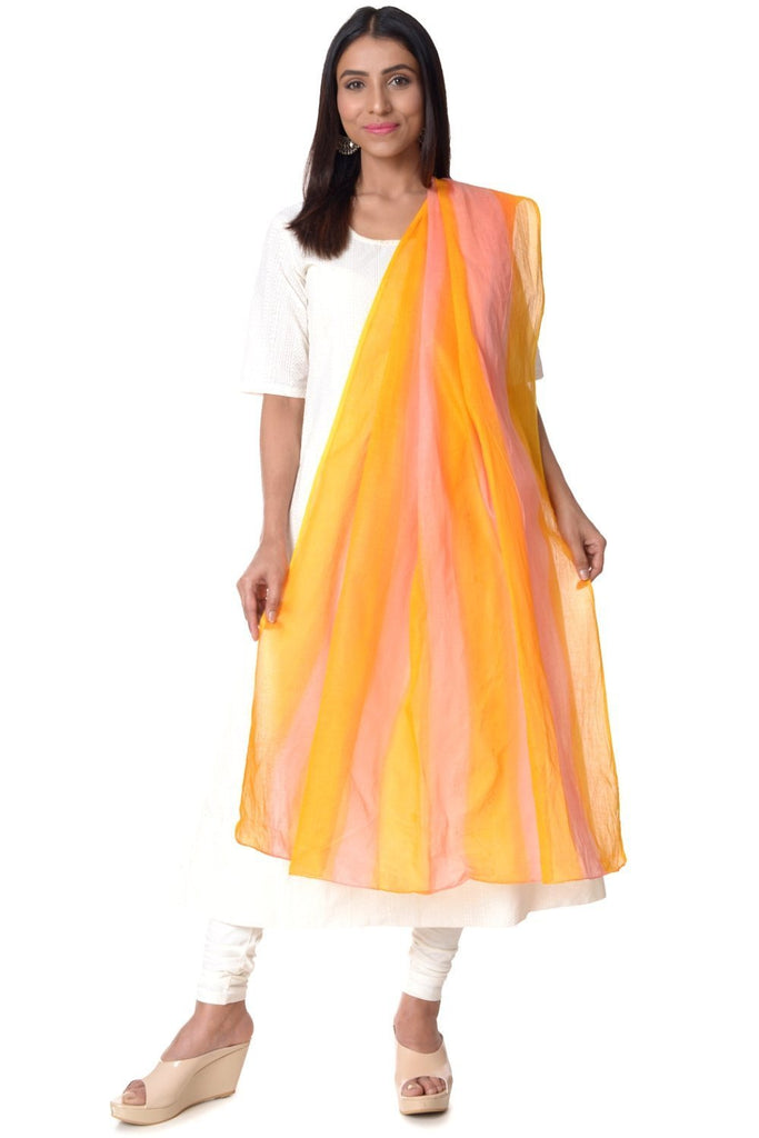 anokherang Combos Off-White Anarkali with Churidaar & Cotton Pink & Yellow Striped Dupatta