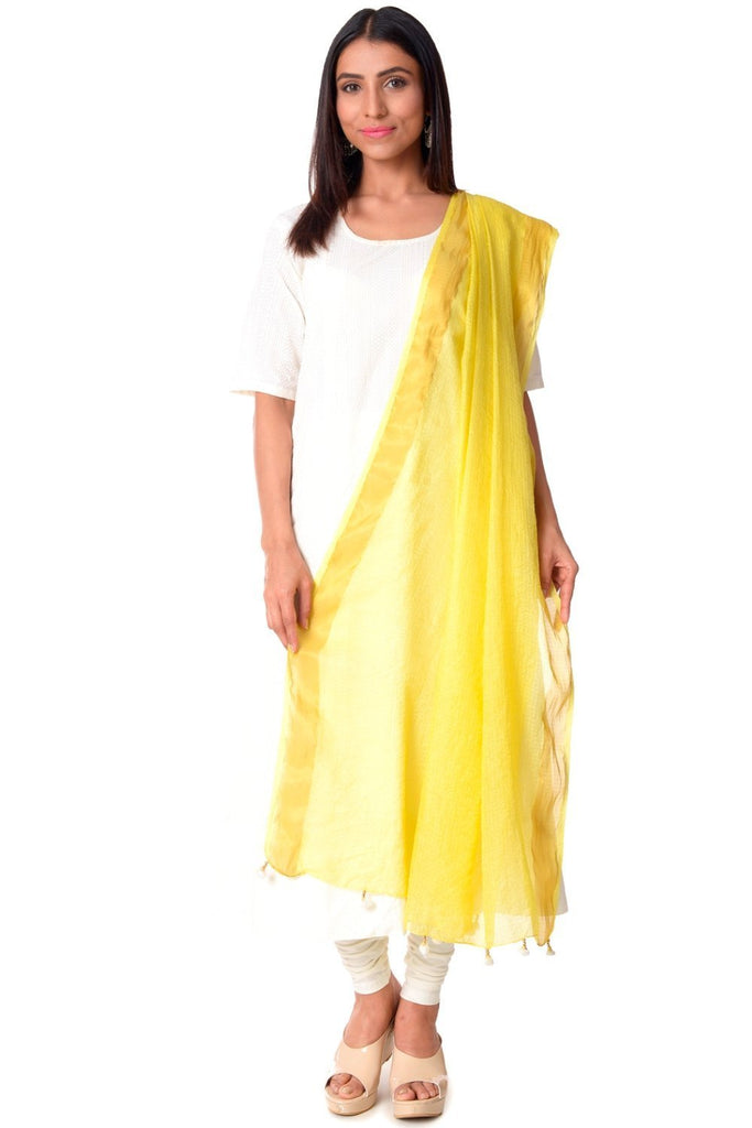 anokherang Combos Off-White Anarkali with Churidaar & Lemon Kota Doria Dupatta